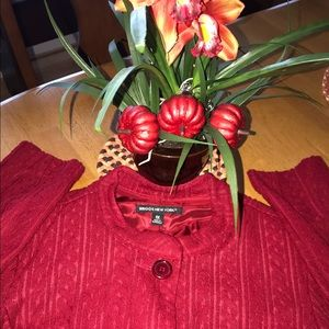 Berry Red Textured Blazer With Pockets Size 1X